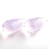 Пара лавандовых аметистов российской огранки формы бриолет, общий вес 32.9 карат, размер 20.5х11.3мм (amth0312)