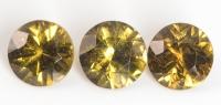 Комплект из трёх андрадитов круг вес 1.73 карат, размер 5х5мм (andr0015)