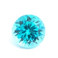 Ярко-голубой апатит отличной российской огранки формы круг, вес 0.9 карат, размер 5.9х5.8мм (apt0071)