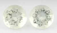 Пара бледно-жёлтых бериллов отличной огранки формы круг, общий вес 10.45 карат, размер 11.6х11.6мм (beryl0126)