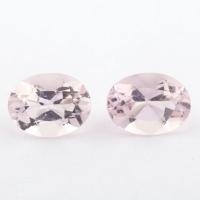 Пара розовых бериллов морганитов формы овал, общий вес 1.45 карат, размер 7х5.3мм (beryl0213)