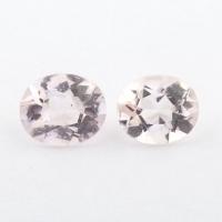 Пара розовых бериллов морганитов формы овал, общий вес 0.99 карат, размеры 6х5 и 5.8х4.9мм (beryl0214)