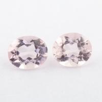Пара розовых бериллов морганитов формы овал, общий вес 1.01 карат, размер 5.9х4.9мм (beryl0215)