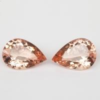 Пара персиково-розовых бериллов морганитов формы груша, общий вес 24.9 карат, размер 20х14мм (beryl0242)