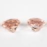 Пара персиково-розовых бериллов морганитов формы сердце, общий вес 7.2 карат, размер 10.1х10мм (beryl0244)