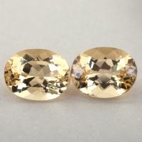 Пара золотистых бериллов гелиодоров формы овал, общий вес 4.09 карат, размер 9.5х7.3мм (beryl0253)