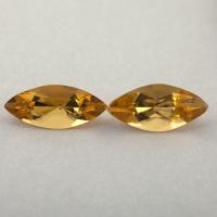 Пара ярко-желтых бериллов гелиодоров формы маркиз, общий вес 1.29 карат, размер 9.5х4мм (beryl0256)
