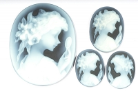 Комплект камей на агате, размер 45x35, 25x18, 20x15мм (cameo0143)