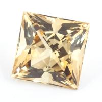 Светло-желтый цитрин отличной российской огранки квадрат, вес 12.86 карат, размер 13.7х13.7мм (citrin0124)