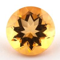 Оранжево-желтый цитрин круг, вес 10.49 карат, размер 15.15х15.1мм (citrin0140)