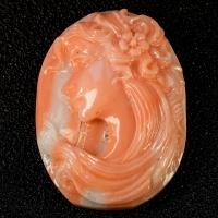 Камея на коралле весом 24.79 карат, размер 27.9х20мм (coral0001)