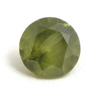 Желтовато-зелёный уральский демантоид круг, вес 0.6 карат, размер 5.2х5.2мм (dem0032)