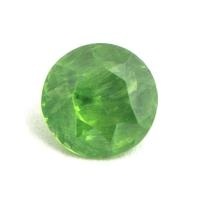 Светло-зелёный уральский демантоид круг, вес 0.54 карат, размер 4.9х4.9мм (dem0034)