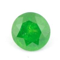 Ярко-зелёный уральский демантоид формы круг, вес 0,66 карат, размер 5,4х5,3мм (dem0042)