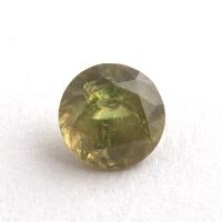 Уральский гранат демантоид формы круг, вес 0.47 карат, размер 4.5х4.5мм (dem0057)