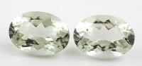 Зелёный кварц (зелёный аметист, празиолит) пара овалов вес 22.5 карат, размер 18х13мм (gquartz0011)
