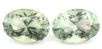 Пара зелёных кварцев (празиолитов) отличной огранки формы овал, общий вес 64.51 карат, размер 25.3х18.2мм (gquartz0041)