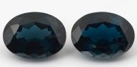 Пара голубых топазов лондонского оттенка отличной огранки формы овал, общий вес 45.41 карат, размер 20.1х15мм (london0104)