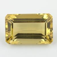 Лимонный кварц октагон, вес 37.67 карат, размер 24.7х15.7мм (lquartz0053)