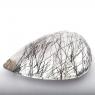 Кварц с включениями турмалина груша, вес 63.35 карат, размер 36х25мм (quartzinct0019)