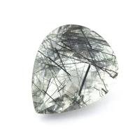 Кварц с включениями турмалина груша, вес 17.5 карат, размер 20х16.7мм (quartzinct0020)