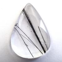 Кварц с включениями турмалина кабошон груша, вес 51.8 карат, размер 36.4х25.7мм (quartzinct0022)