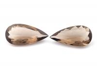 Пара раухтопазов формы груша, общий вес 34.33 карат, размер 30х15мм (rauh0065)