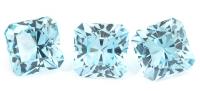 Комплект небесно-голубых топазов отличной российской огранки формы квадрат, общий вес 10.3 карат, размер 8.1х8мм (sky0090)
