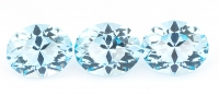 Комплект небесно-голубых топазов отличной российской огранки формы овал, общий вес 11.97 карат, размер 11х9мм (sky0102)