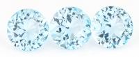 Комплект небесно-голубых топазов отличной российской огранки формы круг, общий вес 9.15 карат, размер 9х9мм (sky0103)