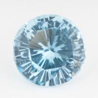 Небесно-голубой топаз отличной российской огранки формы круг, вес 3.9 карат, размер 9.9х9.9мм (sky0110)