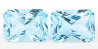 Пара голубых топазов отличной огранки формы октагон, вес 62.3 карат, размер 22х16мм (sky0114)