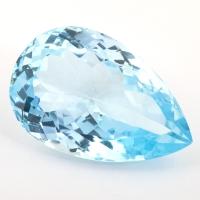 Небесно-голубой топаз груша, вес 32.58 карат, размер 25.68х16.73мм (sky0115)