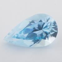 Небесно-голубой топаз отличной российской огранки формы груша, вес 29.4 карат, размер 26.6х15.7мм (sky0138)