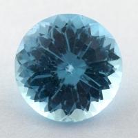Небесно-голубой топаз российской огранки формы круг, вес 6.01 карат, размер 11.2х11.1мм (sky0155)