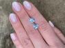 Пара небесно-голубых топазов хорошей огранки формы триллион, общий вес 3.95 карат, размер 8х8мм (sky0160)