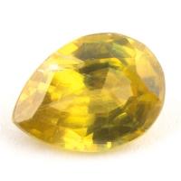 Золотистый сфен груша вес 0.91 карат, размер 7.5х5.4мм (sphene0041)
