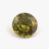 Золотисто-зеленый сфен круг вес 0.32 карат, размер 4.2х4.1мм (sphene0051)