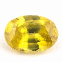Золотистый сфен овал вес 0.87 карат, размер 7х4.8мм (sphene0061)