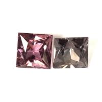 Асимметричная пара шпинелей формы квадрат, общий вес 2.4 карат, размер 5.5х5.5мм (spinel0200)