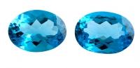 Топаз голубой swiss пара овалов вес 50.74 карат, размер 22х16мм (swiss0020)