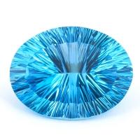 Ярко-голубой топаз овал, вес 48.69 карат, размер 27.39х20.76мм (swiss0036)