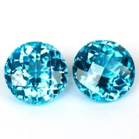 Пара ярко-голубых топазов формы круг, общий вес  31 карат, размер 14.8х14.7мм (swiss0044)