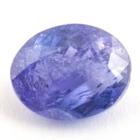 Яркий фиолетово-синий танзанит с включениями овал, вес 3.46 карат, размер 10х8мм (tanz0213)