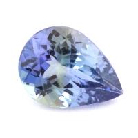 Зеленовато-синий танзанит груша, вес 0.99 карат, размер 7.9х5.9мм (tanz0240)