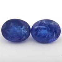 Пара ярко-синих танзанитов формы овал общим весом 13.42 карат, размеры 12.5х10.4 и 12.5х9.9мм (tanz0334)