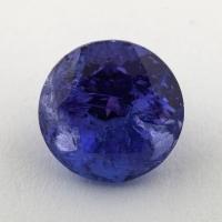 Яркий фиолетово-синий танзанит круг, вес 4 карат, размер 9х9мм (tanz0339)
