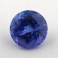Яркий фиолетово-синий танзанит круг, вес 1.57 карат, размер 7.1х7.1мм (tanz0341)