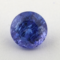 Яркий фиолетово-синий танзанит круг, вес 1.46 карат, размер 6.8х6.7мм (tanz0342)