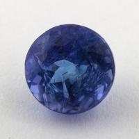 Яркий фиолетово-синий танзанит круг, вес 2.15 карат, размер 7.2х7.1мм (tanz0345)